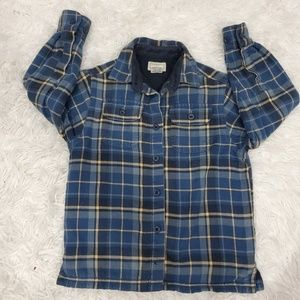 L.L Bean fleece lined flannel shirt blue unisex 4t
